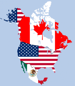 Map of North America with country flags superimposed, illustrating the USMCA territory
