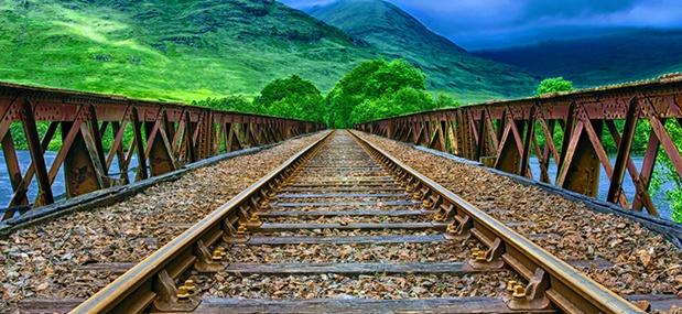 Steel train tracks